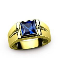 Mens Gemstone Ring in REAL 14K SOLID Yellow Fine GOLD and Diamond Accents all Sz