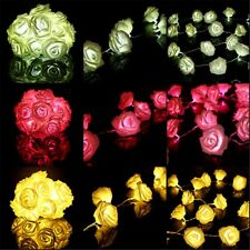 20 LEDs String Rose Flower Fairy Lights Indoor Christmas Xmas Party Bedroom UK