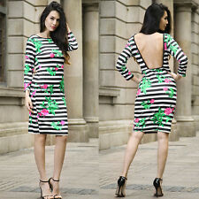 Women Sexy Backless Striped Rose Print Cocktail Party Clubwear Mini Pencil Dress