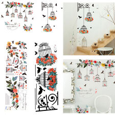 DIY Wall Stickers Flowers Birdcages Removable Art Vinyl Decal Home Office Decor