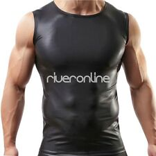 Men's Black Leather Like Sexy Sleevless T-Shirt Undershirt Muscle Tank Top Vest