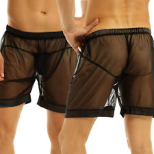 Black Mens Mesh See-through Loose Lounge Boxer Shorts Lingerie Underwear Trunks