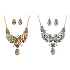 Hollow Out Butterfly Necklace Earrings Jewelry Sets Statement Lady Fashion
