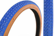 """SET 20 x 1.75 AND 20 x 2.125 OLD SCHOOL BMX """"SNAKE BELLY"""" TYRES BLUE AMBERWALL"""