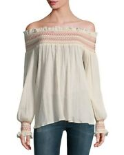 NWT LOVE SAM Off The Shoulder Embroidered Smocked Top Sz XS Sz S Sz M 280646AJ