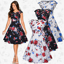 UK Ladies Rockabilly Vintage 50s Floral Womens Pin Up Party Evening Swing Dress