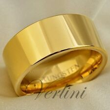 Gold Men Tungsten Carbide Ring 10mm Wedding Band Polished Shiny Extra Wide Rings