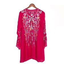 SPRING 2018 NWT JOHNNY WAS Lulu Embroidered TUNIC Top Dress Blouse Fuscia  L XL