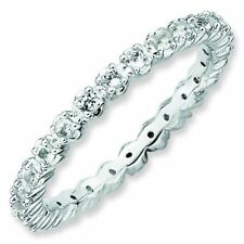 White Topaz 2.25mm Eternity Band Sterling Silver Stackable Ring