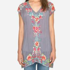 SUMMER 2018 NWT JOHNNY WAS Pari Embroidered TUNIC Top Dress Blouse BLUE M L XL