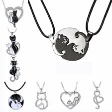Fashion Heart Love Crystal Animal Cat Pendant Necklace Women Mother's Day Gift