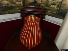 vntg. murano vase relief stripes red and yellow hand crafted mid century estate