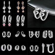 New White Gold Plated Cubic Zirconia CZ Dangle Hoop Earrings Women Party Jewelry