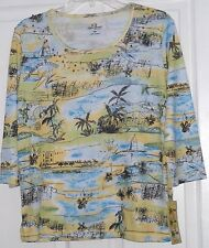PALM GROVE KNIT SHIRT TOP SIZE PM BEADED BLUE YELLOW TROPICAL NWT