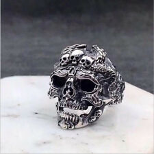 Men's Stainless Steel Silver Cool Fashion Gothic Punk Skull Finger Rings Jewelry