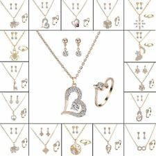 Womens Crystal Pearl Pendant Necklace Earrings Ring Wedding Party Jewelry Sets