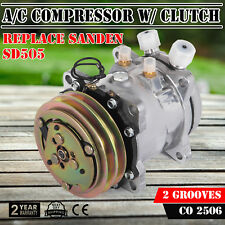 New A/C Compressor and Clutch Replaces Sanden SD505 2 Grooves