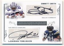EMMITT SMITH LADAINIAN TOMLINSON 2017 NATIONAL TREASURES DUAL AUTO #10/10 $500+