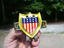 Vintage 1920-30s Auto US Flag holder parade plate topper GM Ford model a t chevy (Fits: More than one vehicle)