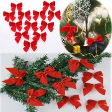 12pcs Red Bowknot Christmas Tree Pendant Decoration Accessories Xmas Hanging Bow