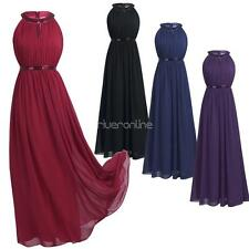 Womens Evening  Prom Gown Halter Chiffon Long Bridesmaid Formal Dresses Wedding
