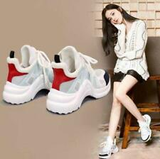 Womens Mixed Color Heels Sneakers Running Breathable Athletic Sports Shoes