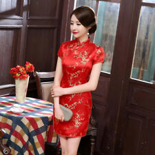 Chinese Cheongsam Vintage Plum Blossom Women Mini Dress for Banquet Photography