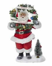 Santa Claus Holding Merry Christmas Wreath Light Up Fabriche Figurine  C7449 New
