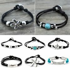 Retro Silver Black Leather Rope Wristband Cuff Bracelet Men Women Bangle Gift