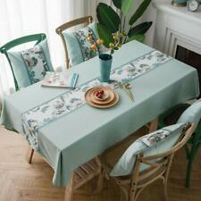 Stitching Embroidered Floral Tablecloth Heavy Weight Cotton Linen Dust-Proof