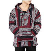 Unisex Mexican Jerga Hoodie - Large, Black/Red/White
