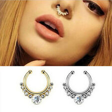 1Pc Fake Septum Clicker Ring Non Piercing Hanger Clip On Jewelry Crystal Nose