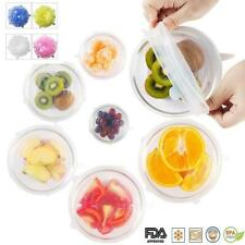 6 PCS Silicone Stretch Lids Reusable Bowl Sealed Fresh Cover T5G1