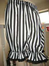 NEW Gothic,Lolita,Pirate Black,White Stripes Lace Sissy Long Bloomers,Pantalooms