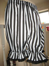 NEW Gothic Lolita Pirate Black White Stripes Lace Sissy Long Bloomers Pantaloons