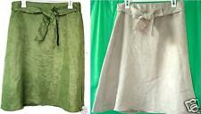 SELENE SPORT A Line Full Faux Suede Moleskin Sash Tie Belted Casual Skirt M NWT