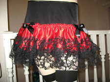 Sexy Black,Red  Burlesque Lace Skirt,Rock,Goth,Lolita
