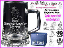 Engraved Glass Tankard Groomsman Gift - Boxed