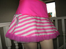 New Pink White,Black Stripes Tutu Mini Frilly Skirt Lolita,Rave,Punk,Gift,Party,