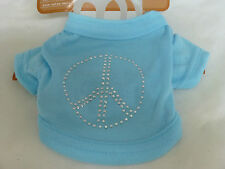 PAWS & CLAWS DOG SHIRT WITH PEACE SIGN EMBLEM SIZE XSMALL NEW STUDDED SHIRT