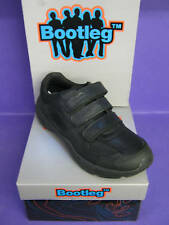 CLARKS BOYS BOOTLEG AIR HUMBER BLK LEATHER VELCRO SHOES
