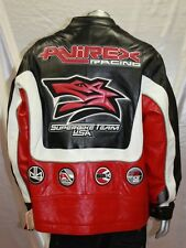 Men's Avirex Black/Red/White RACING 100% Genuine Leather Jacket