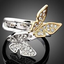 ARINA Swarovski Crystal couple butterfly Gold WGP Ring