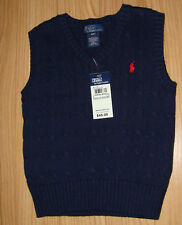 New with Tags NWT RL Ralph Lauren Polo Boys 2T 3T 4T Navy Blue Sweater Vest $45