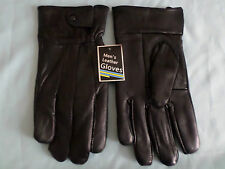 GENTS QUALITY BLACK SOFT LEATHER GLOVES WITH ZIP PLAIN OR BUTTON M L XL XXL