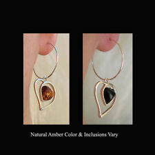 BALTIC HONEY or CHERRY AMBER & STERLING SILVER HEART EARRINGS