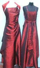 BURGUNDY EVENING BRIDESMAID VICTORIAN DRESS SIZES 6/8 TO18/20 h