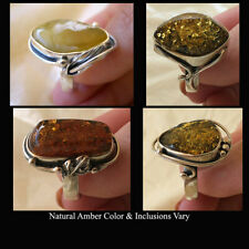 BALTIC HONEY or MULTICOLOR AMBER & SILVER LEAF LILY or MODERN HANDMADE RING