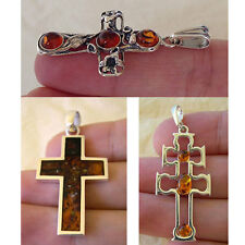 BALTIC HONEY AMBER & STERLING SILVER FLOWER or INLAID CROSS PENDANT