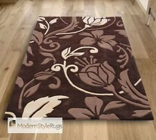 Brown and Cream Damask Pattern Design - Soft Luxury Acrylic Pile - In 6 Sizes